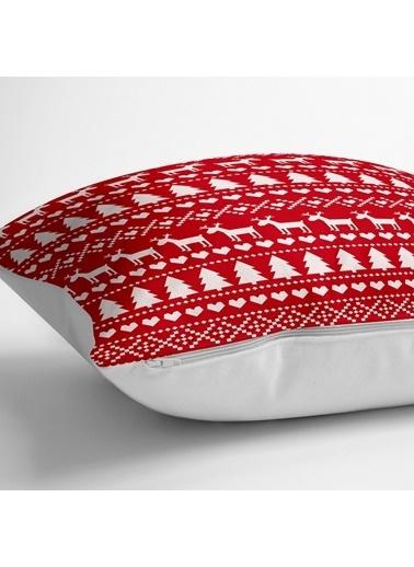Real Homes Kırmızı Zeminde Yılbaşı Motifleri Dijital Baskılı Yer Minderi - 70 x 70 cm Renkli